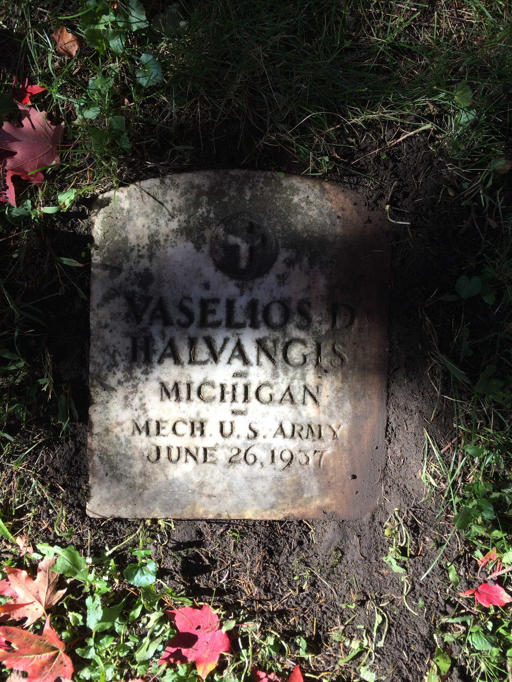 Vasilios Halvangis headstone at Evergreen Cemetery in Detroit, MI