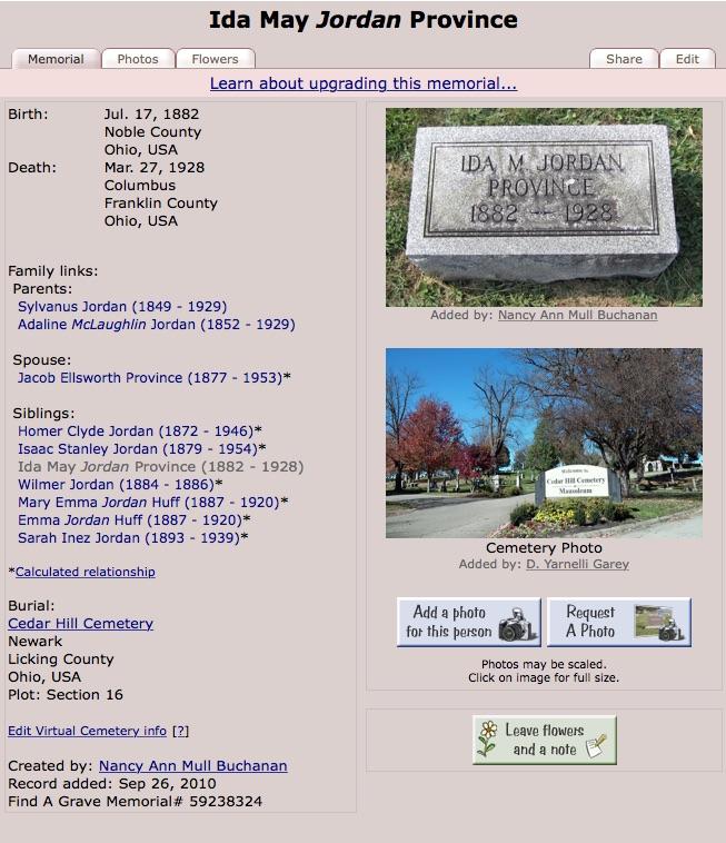 Ida May Jordan Province (1882-1928) - Find a Grave memorial