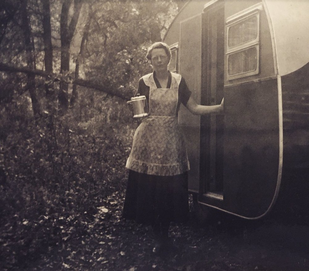 "Ruth (Hanson) Steadman (1903-1980) -""Camping Grandma"" Late 1940s or Early 1950s"