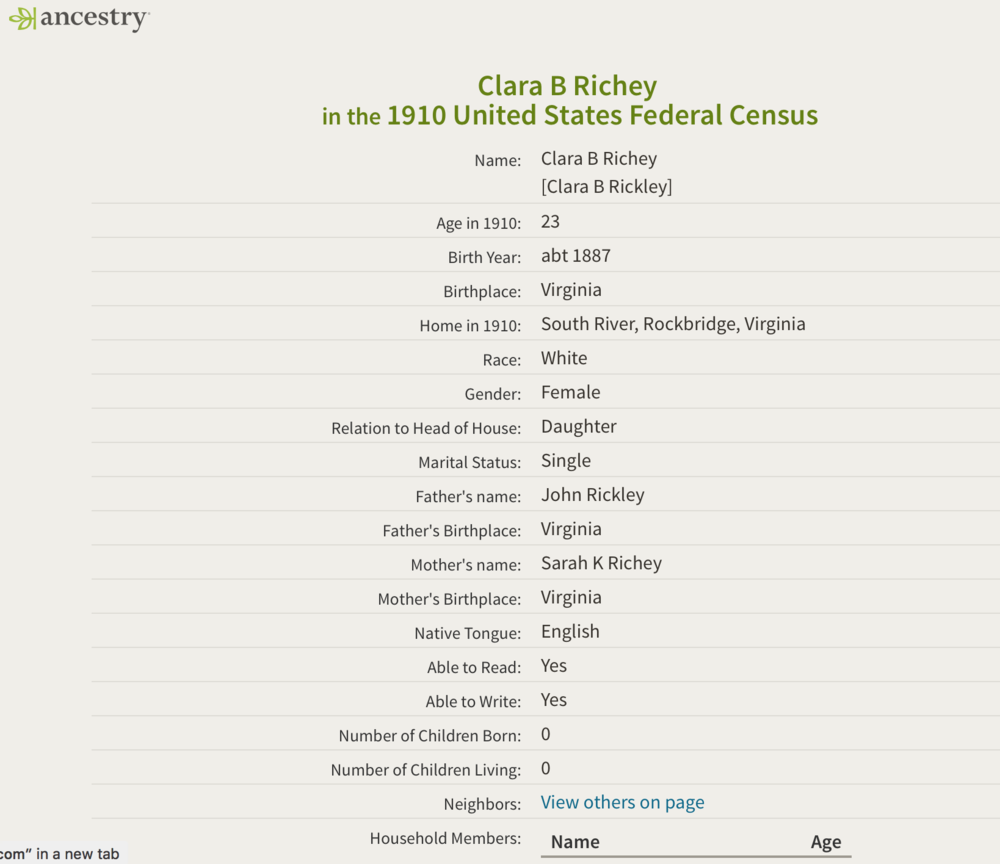 Clara B. Richey 1910 federal census