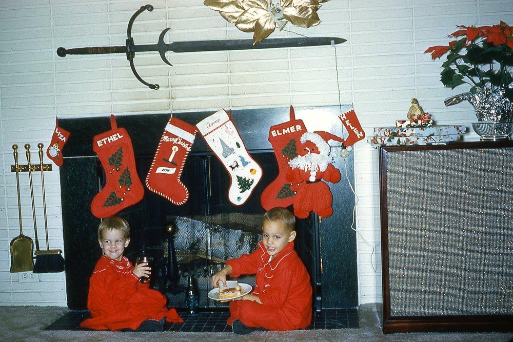 "Waiting for Santa -""Liza, Ethel, Jon, Elmer, and Helen"""