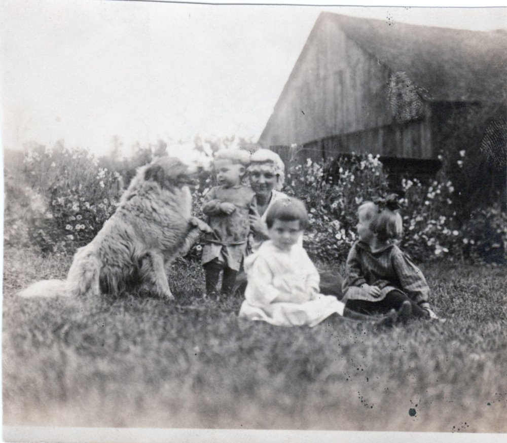 "Marie (Malzi) Adams (1892-1985), Ellen's oldest daughter, with three children and their dog, ""Shep"""
