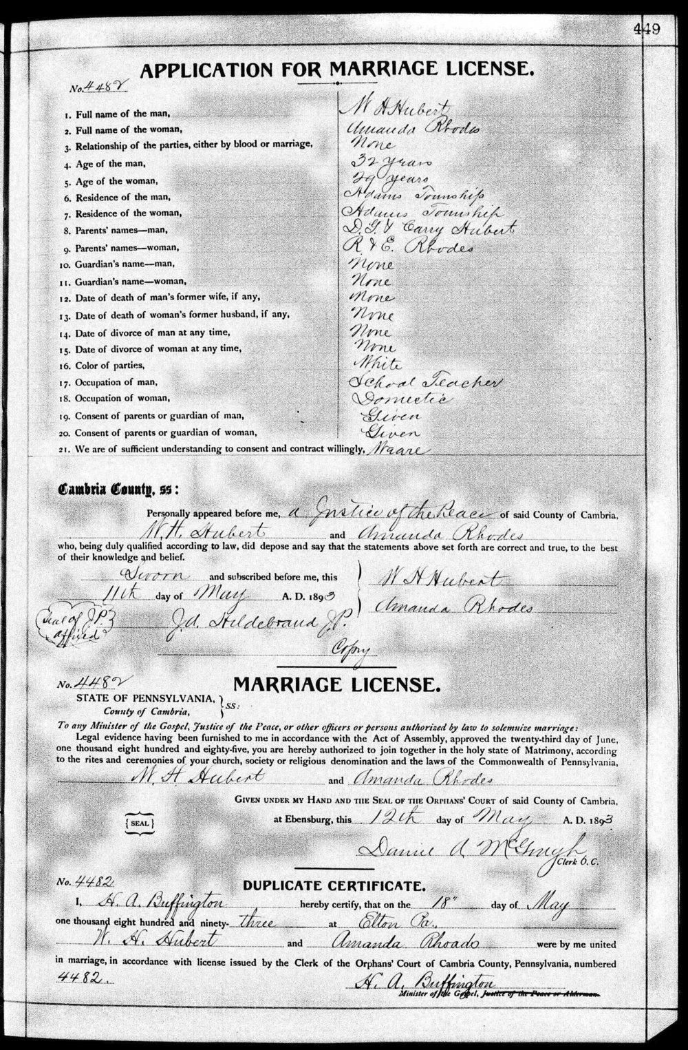 Marriage license for William and Amanda (Rhoads) Hubert