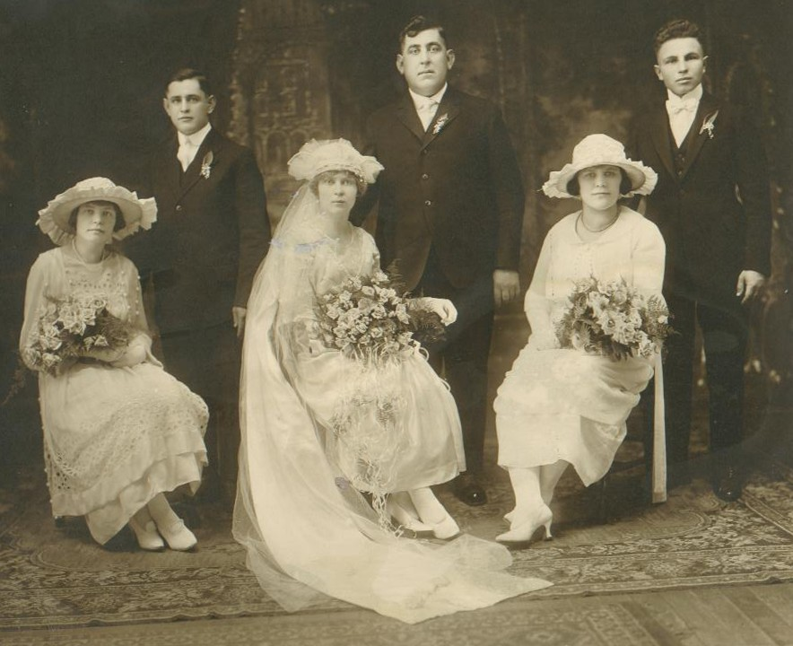 Wedding of Anthony Grzeskowiak and Helen Szpunar (center). Agnes Grzeskowiak seated, far right (1920)