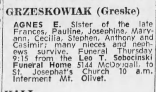 Agnes Grzeskowiak obituary - Detroit Free Press (1/7/1970)