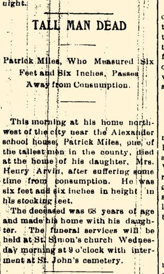 Obituary for Patrick Miles (1834-1903)  Washington Herald - 3/24/1903