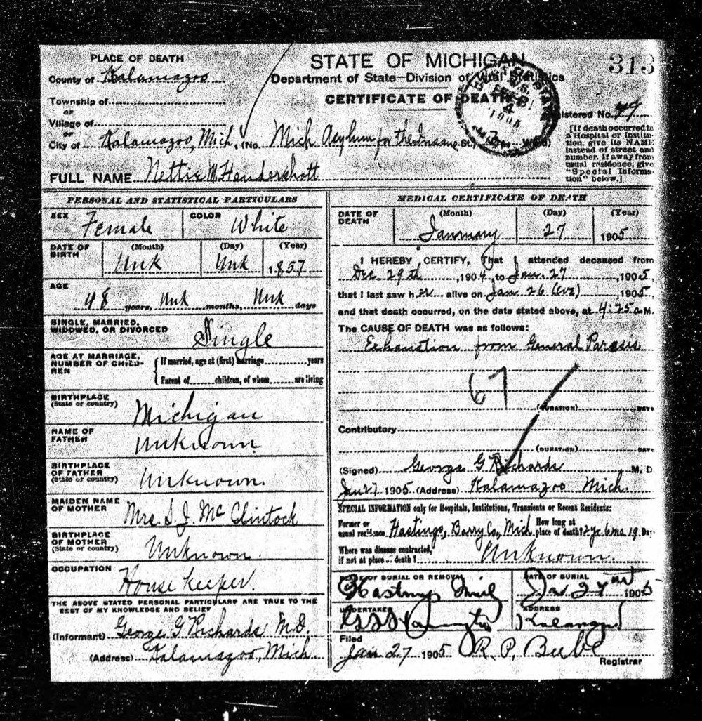 Nettie Hendershott death certificate, 1905