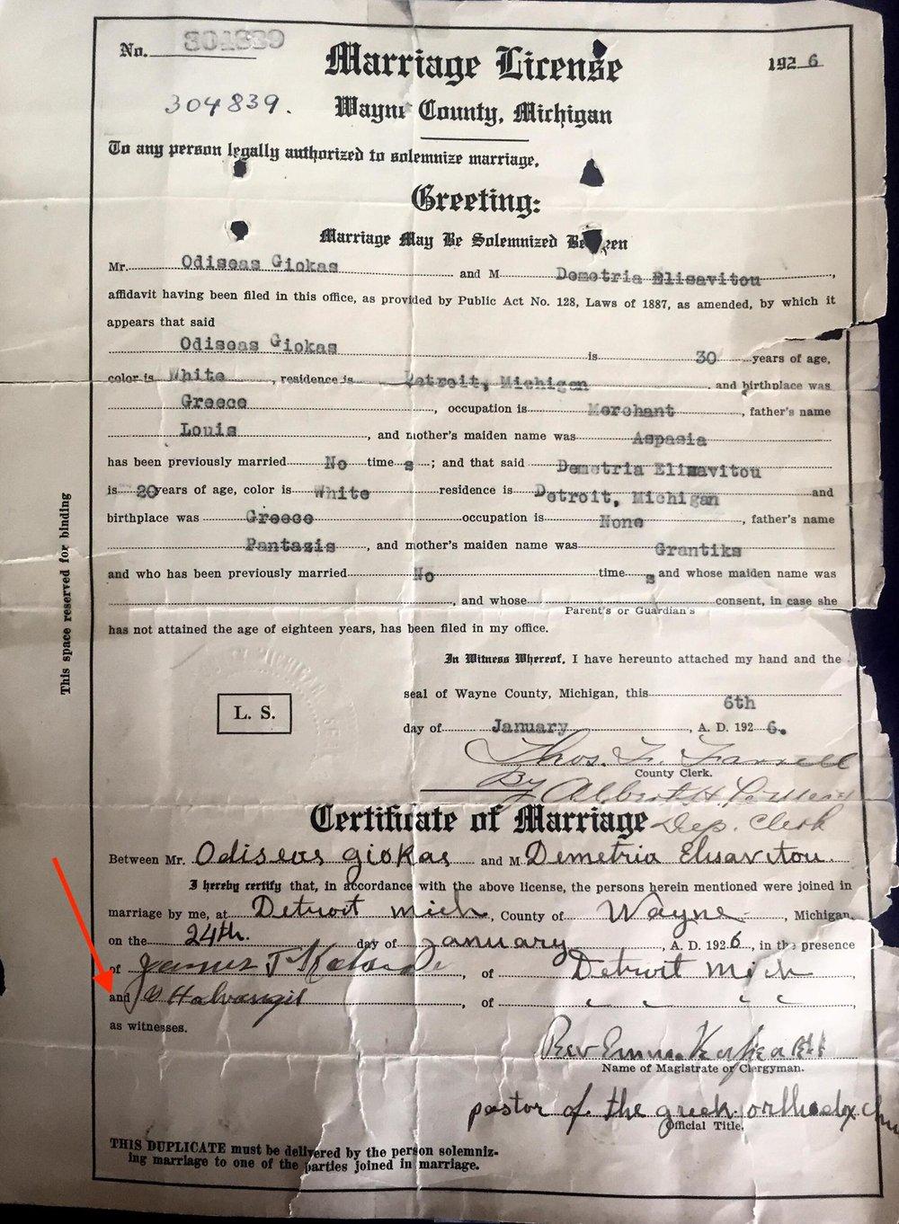 Marriage License of Odysseus Giokas and Dimitra Elissaviti 1/6/1926