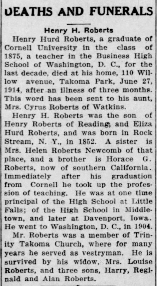 Henry Hurd Roberts obituary -   Ithaca Journal (NY) 7/11/1914