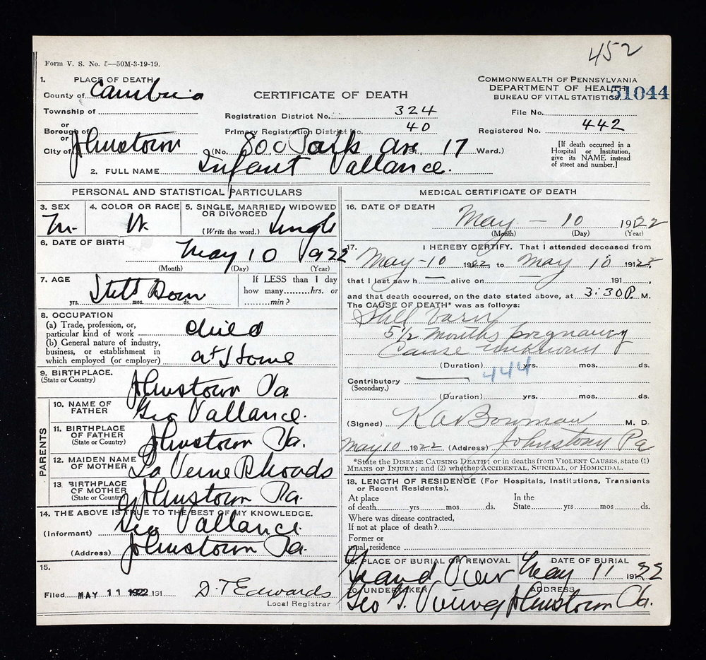 Infant Vallance boy 1922