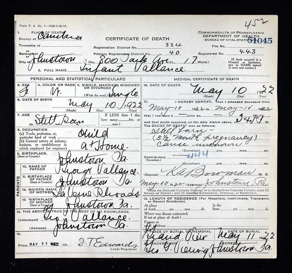 Infant Vallance girl 1922