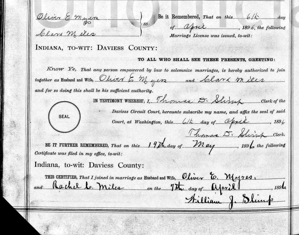 Marriage license of Oliver Edgar Myers and Clara Rachel Miles