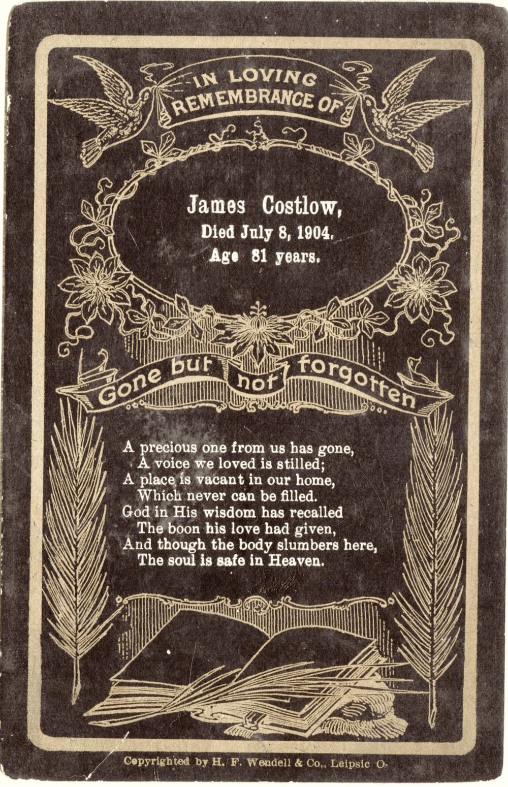 Funeral Card for James Costlow (1822-1904)