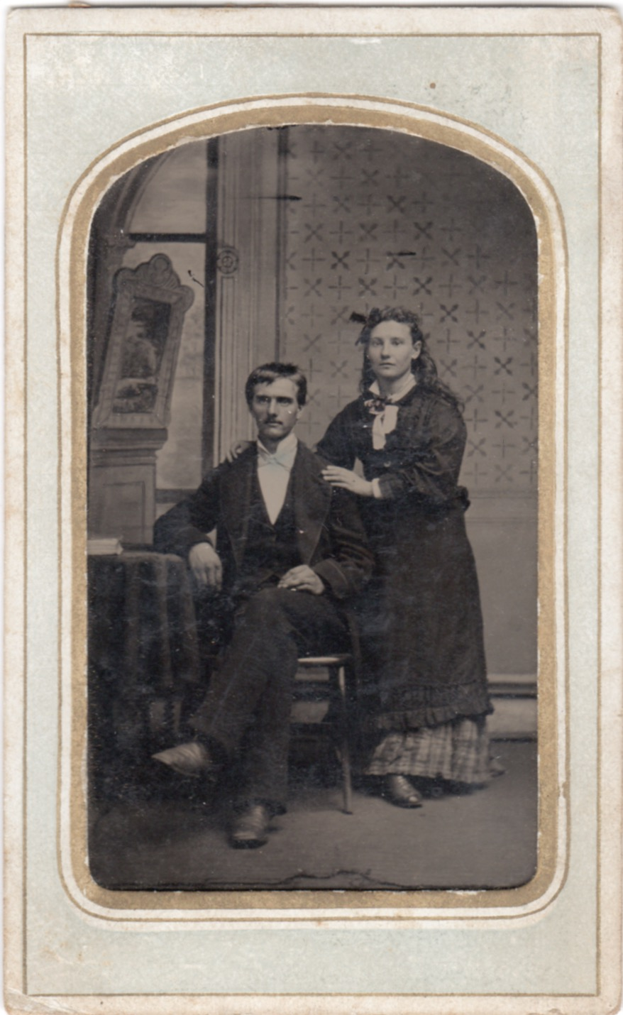 Is this James Cosltow and possibly Sarah Reynolds?This is a tintype photograph (the image is on a stiff metal plate). It is quite small, only 2-3 inches in length. It is likely the oldest photo in the entire collection .