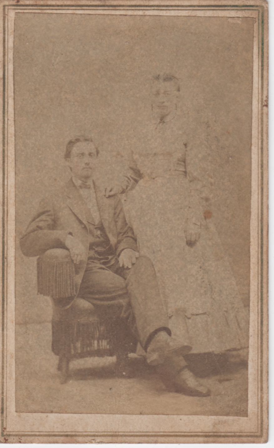 This certainly seems to be a different couple than the previous. It appears very old, but unlike the previous it does not appear to be a tintype.