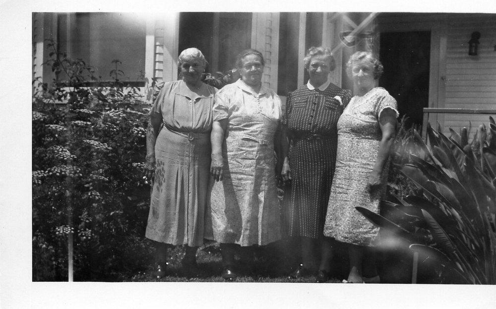 Left to right: 1. Emma Schmidt Withem, 2. Fannie Schmidt Ratz, 3. Lydia, 4. Harriet Ratz