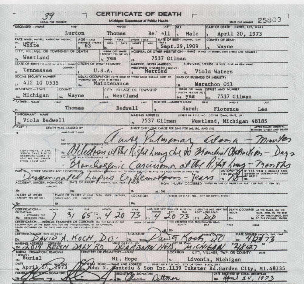 Lurton Bedwell death certificate