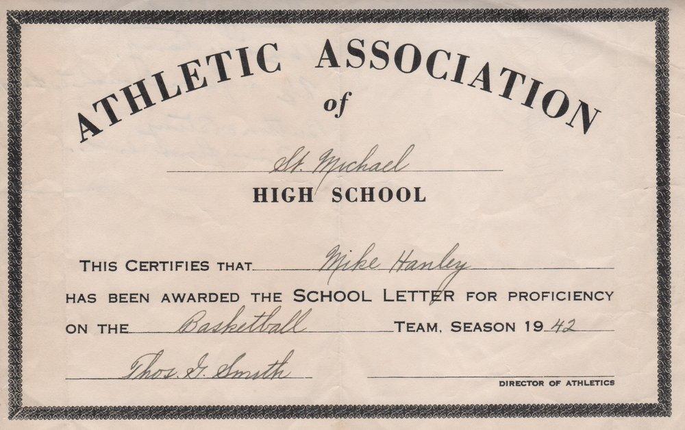Michael John Hanley Jr. (1924-2015) Basketball Letter Certificate 1942