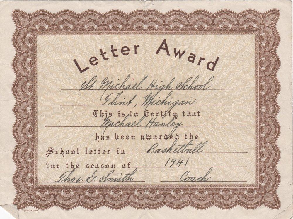 Michael John Hanley Jr. (1924-2015) Basketball Letter Certificate 1941