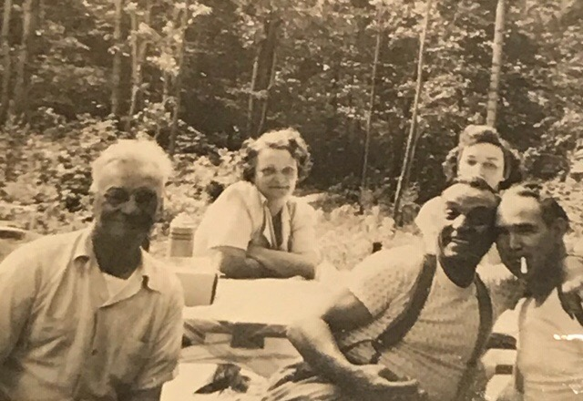 Thelma in back on left. The other woman is unidentified. Front (left to right) - Frederick Earle (1890-1957), possibly one of her brothers, and Thelma's husband, Charles G Hoye Sr. (1904-1975).