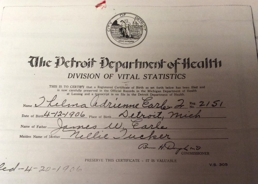 Birth Certificate Certification for Thelma Adrienne Earle, April 12, 1906