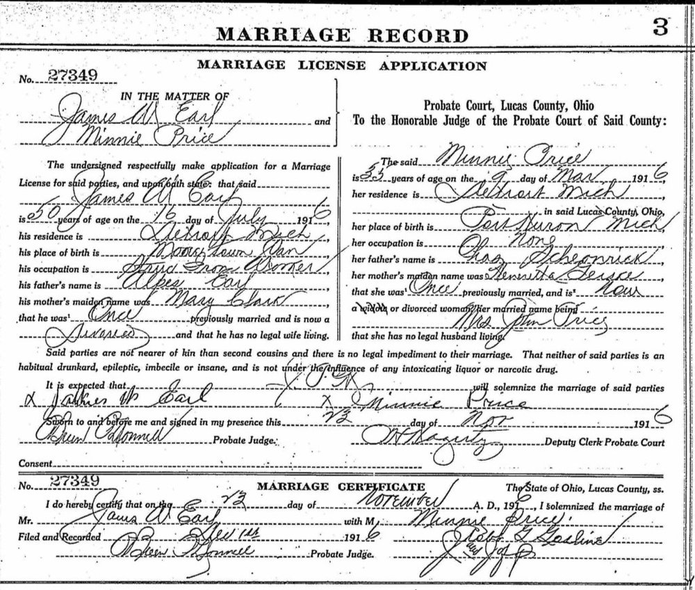 Marriage License Application for James Earle and Minnie (Schoenrick) Price - 1916