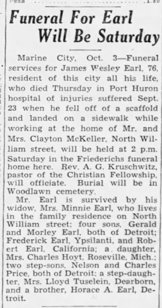 Obituary for Thelma's father, James Earle. The Times Herald (Port Huron, MI) - October 3, 1941