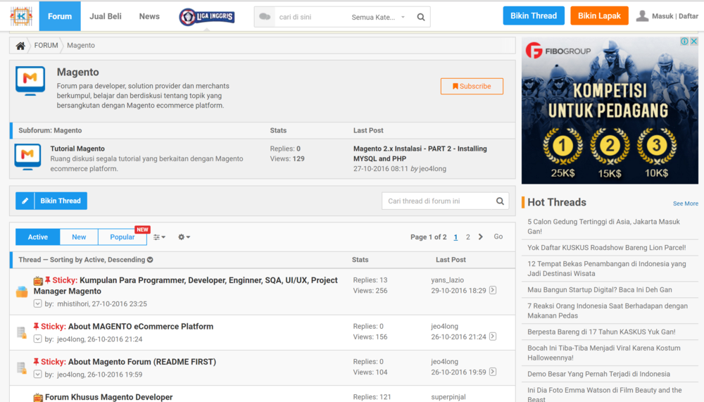 Magento forum is live mage as part of our collaboration with kaskus indonesia we now have a special forum category specific to magento you can click the link below to go to the reheart Images