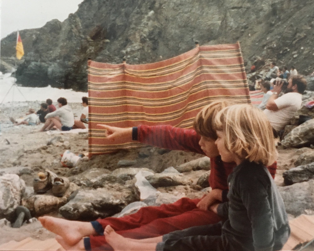 HELEN BAKER AND SISTER ON CORNWALL BEACH