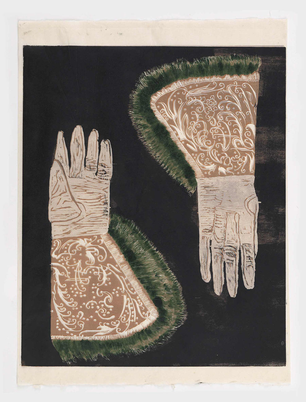 Mamma Andersson ,  Gauntlets , 2015, hand printed colour woodcut on rice paper, monotype, 65 x 49 cm