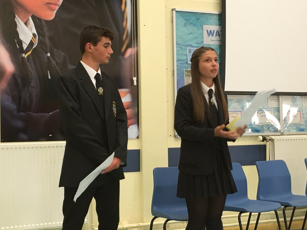 Head Boy and Head Girl speaking at a recent council meeting