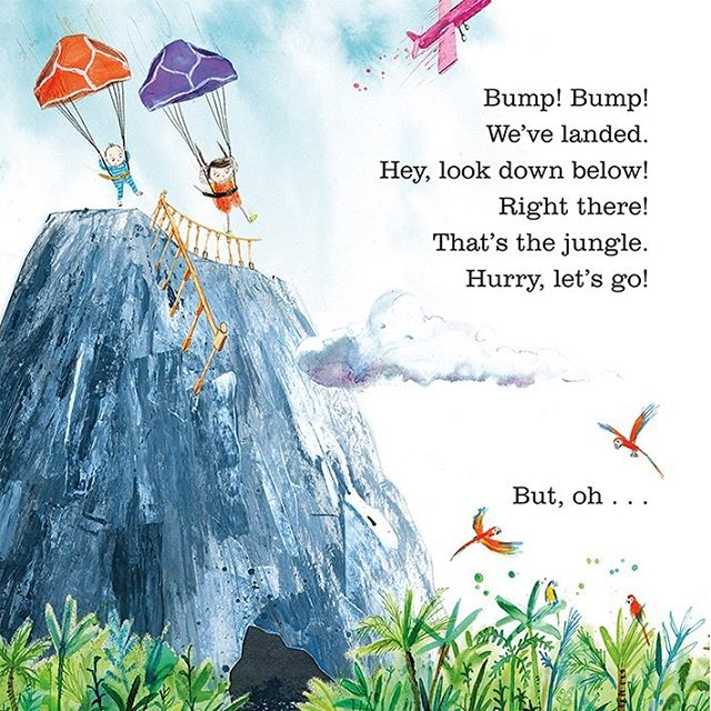 It's publication day! Happy book birthday to Quick, Barney, Run! written by @pip.jones.author and illustrated by me. . A special mention goes out to fantastic @nesswood_design who designs all my books with @faberchildrens. Thanks Ness for being brilliant!!. . Quick, Barney, Run! is a book about the power of a child's imagination. This is one of my favourite pages where Ruby and her baby brother Barney use Dad's pants as a (make-believe) parachute! . QBR! Is published by wonderful @faberchildrens 📚  #quickbarneyrun #picturebooks #childrensillustration #inks #acyrlicpainting