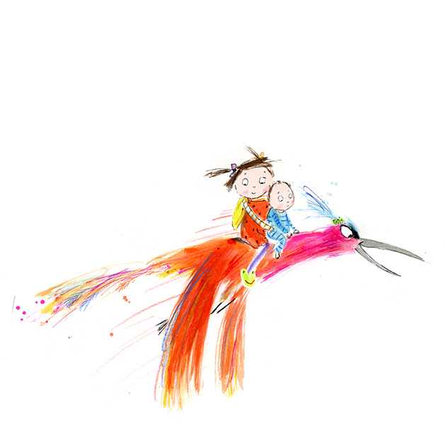 Ruby and Barney flying home on an exotic jungle bird! Illustration from 'Quick, Barney, RUN! by @pip.jones.author and me. . We will be celebrating the power of imagination at our Edinburgh festival appearance THIS Sunday the 26th. For more details and tickets see the link in my biog. . #edinburghbookfestival #edinburghinternationalfestival  #picturebooks #quickbarneyrun