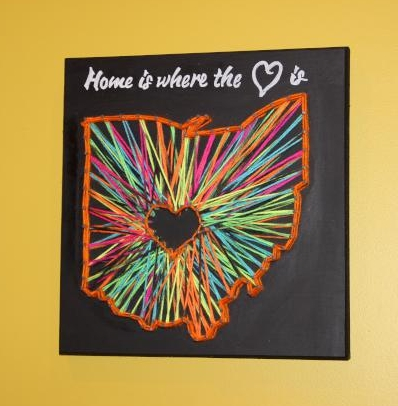 """Home is where the heart is"" Ohio String Art"