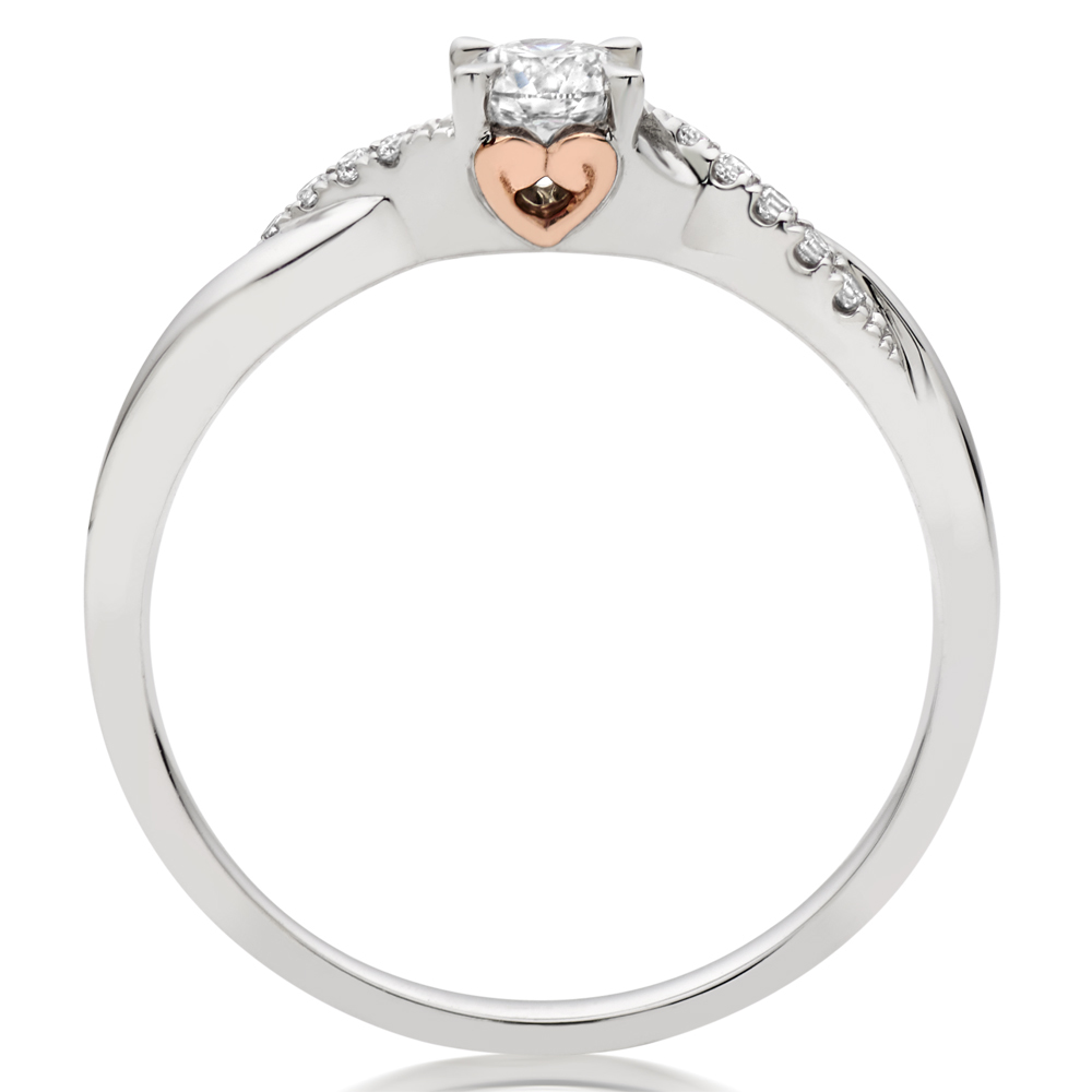 The secret rose gold heart of our 18ct White Gold and Rose Gold Diamond Rose Hearts Ring.