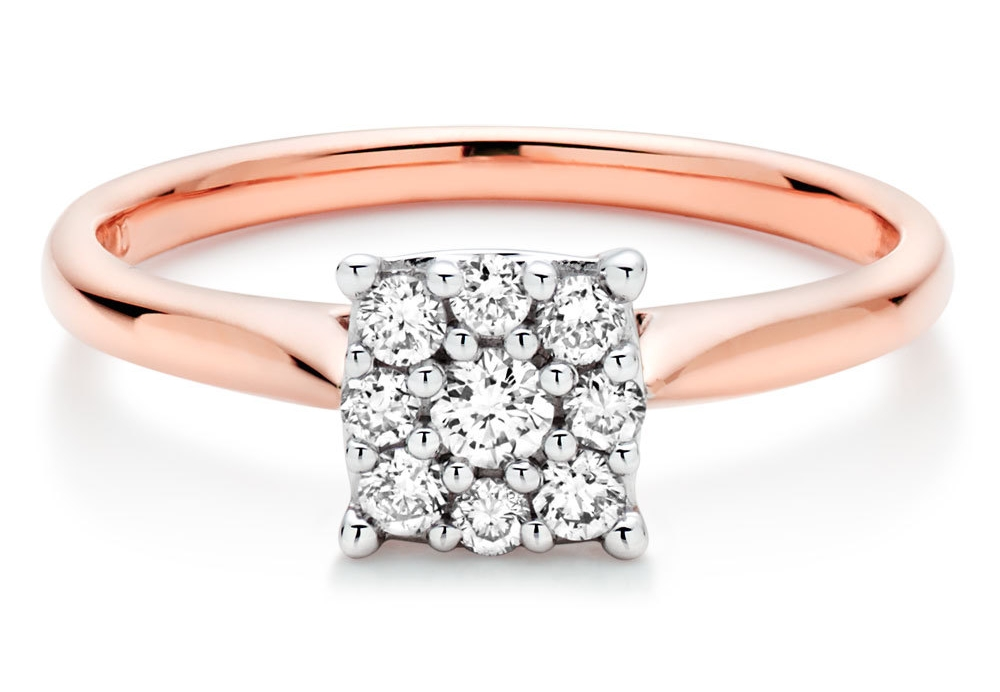 Our 18ct Rose Gold Diamond Cluster Ring, perfect for a beautifully modern look.