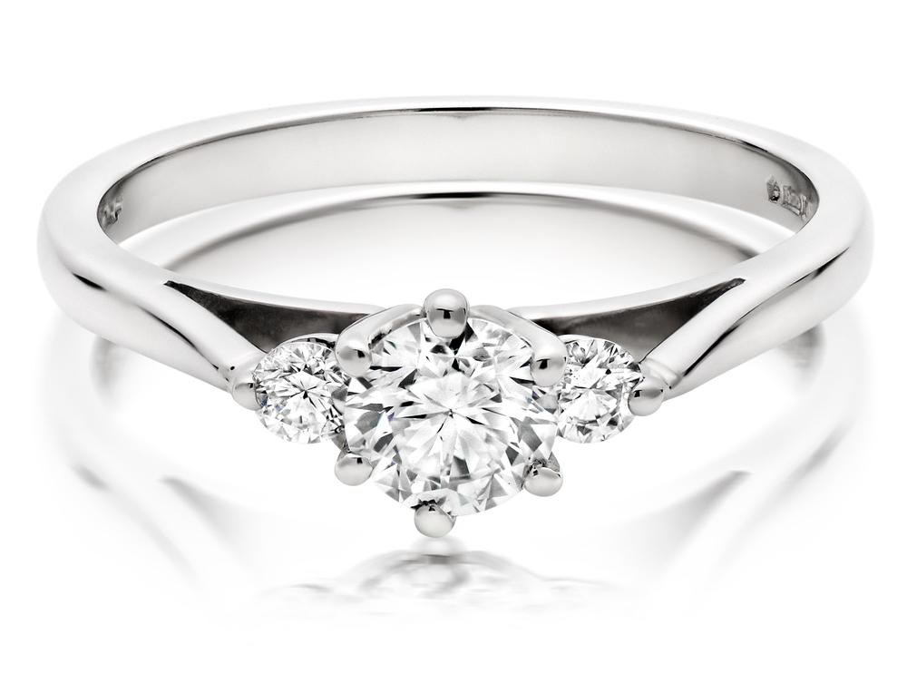 Our Platinum Diamond Three Stone Ring, showcasing some serious sparkle.