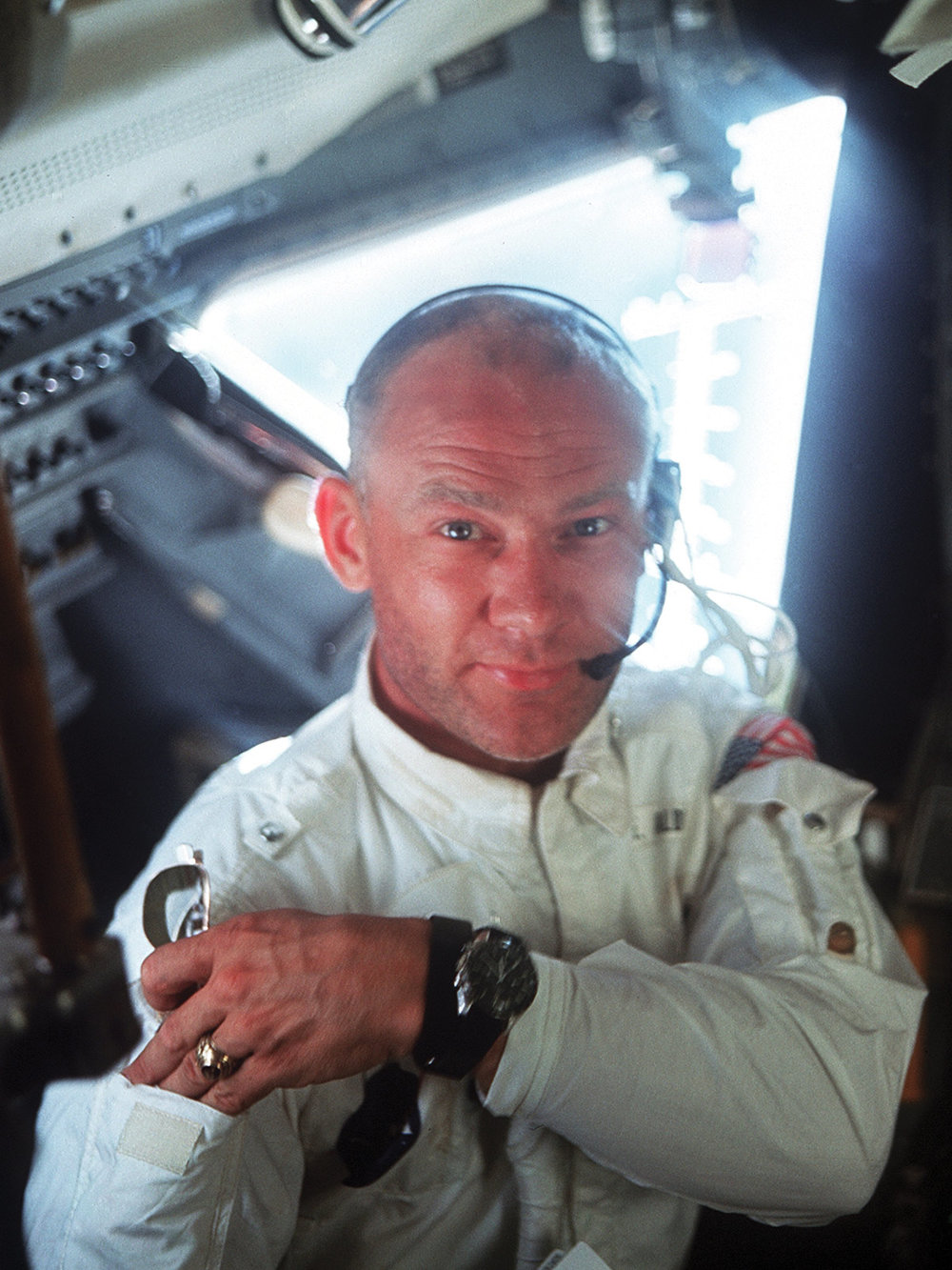 Astronaut Buzz Aldrin and his Omega Speedmaster.