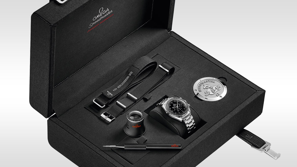 The Speedmaster's special presentation box.