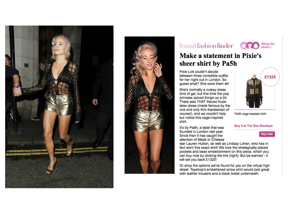 DAILYMAIL.CO.UK Pixie Lott Leaving The Hard Rock Cafe In London Wearing PA5H Black Beaded Shirt, November 17th 2015