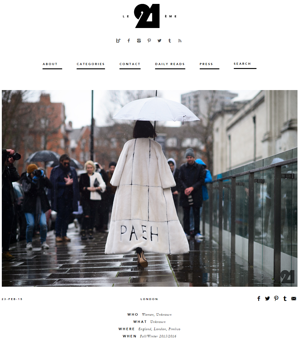 LE21EME.COM Tarcha Ann In PA5H Outside The Topshop Show Space, London Fashion Week, February 2015