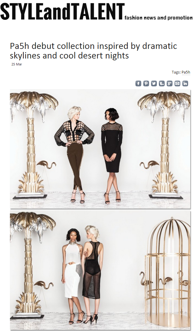 STYLE AND TALENT.COM PA5H 'HardSand' Debut Collection On Style And Talent.Com. March 24, 2015.