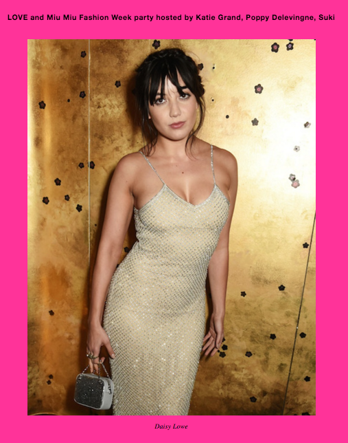 LOVE MAGAZINE Daisy Lowe wearing PA5h at Miu Miu Love Magazine party. Wearing the PA5H crystal dress.