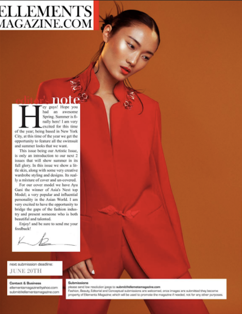ELLEMENTS MAGAZINE, JUNE 2016 Ayu Gani wearing PA5H