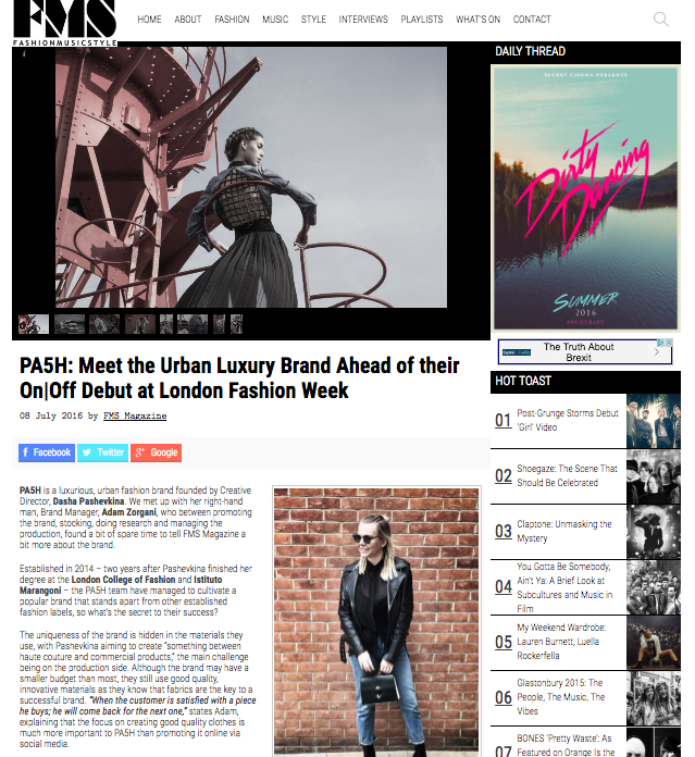 FMS Magazine 8 July 2016 PA5H piece on Fashion Music Style