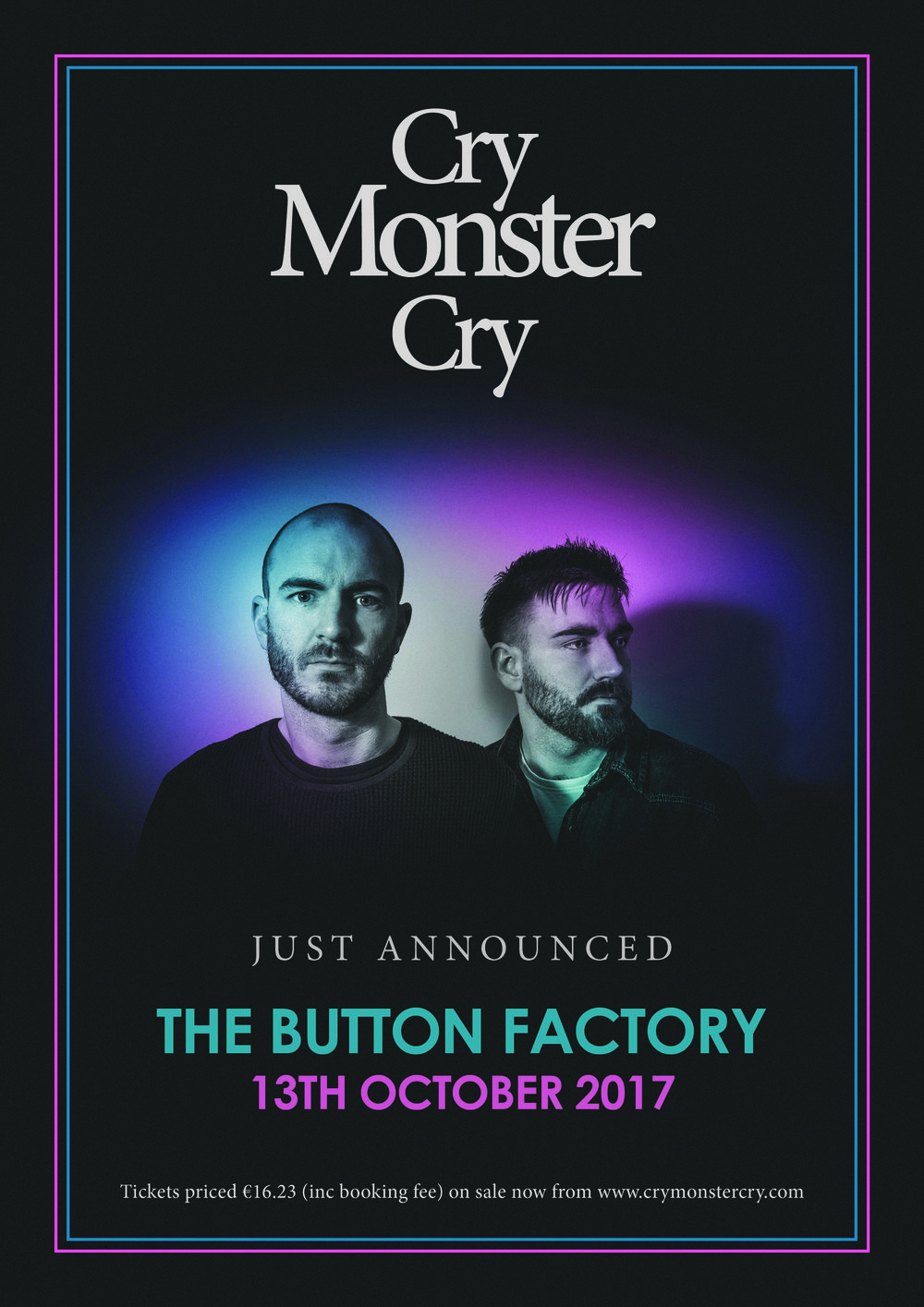 Due to incredible demand, Cry Monster Cry return to Dublin on Oct 13th at Button Factory - Brothers Richie and Jamie Martin announce another Dublin show following three sold out shows at Whelan's