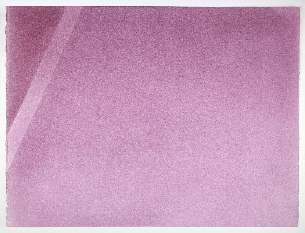 """Andréanne Godin, Une nuance de violet  (de la série  Une promenade avec Pierre ), 2016, pigments secs (violet quinachridone) sur papier Arches,13.5"""" x 18"""" (35 x 46 cm)"""