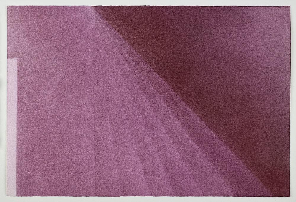 """Andréanne Godin, Déclinaisons  (de la série  Une promenade avec Pierre ), 2016,pigments secs (violet quinachridone) sur papier Arches,9"""" x 13.5"""" (23 x 35 cm)."""