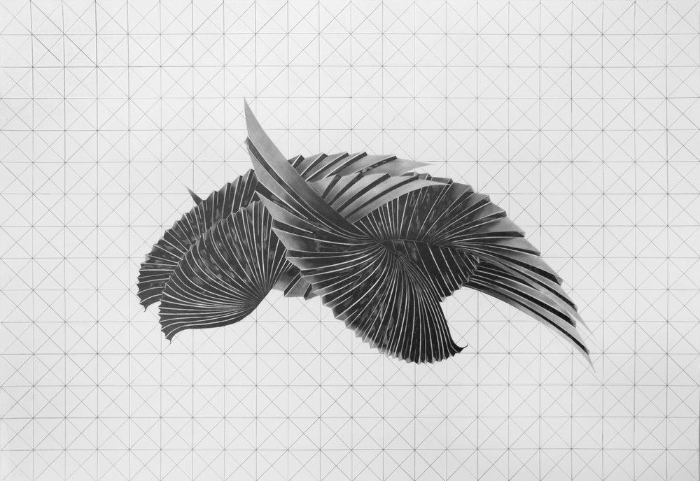 """Philippe Caron Lefebvre,  Prototype pour un astronef , 2016, graphite sur papier,30"""" x 44"""" (76 x 112 cm)."""