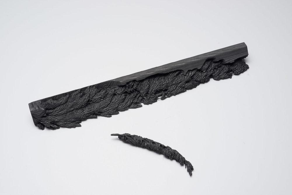 "Andréanne Godin, Thuja occidentalis , 2015, graphite extrudé,10"" x 1"" x 1"" (25 x 2.5 x 2.5 cm)."